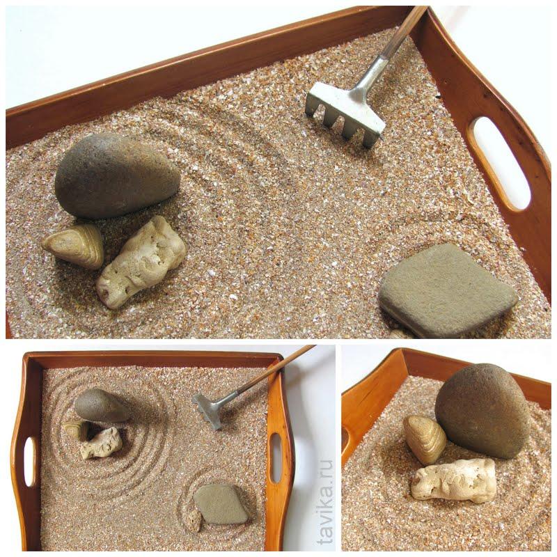 японский сад камней на столе