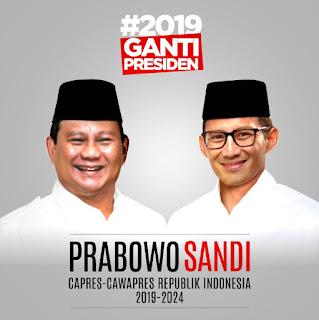 Pasangan Prabowo Subianto-Sandiaga Solehudin Uno.