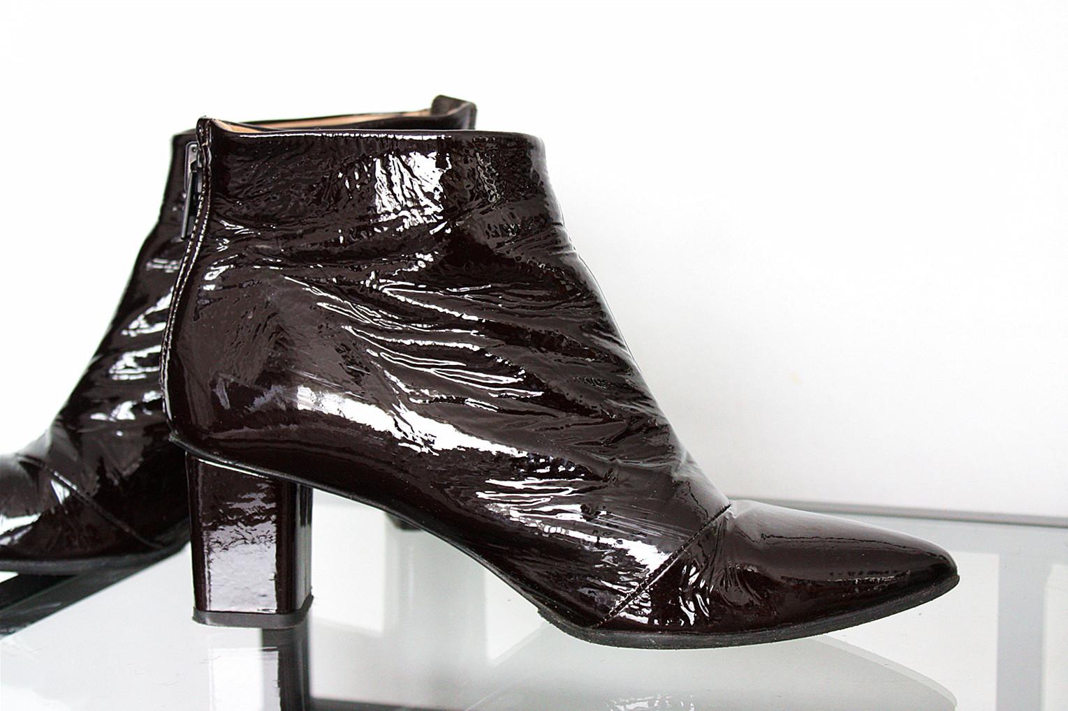botki H&M, lakierowana skóra, buty na obcasie H&M