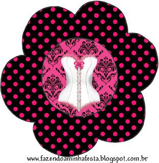 Invitacion en forma de Flor para Imprimir Gratis de Lencería en Rosa.