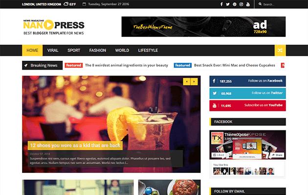 Nanopress Responsive News/Magazine Blogger Template