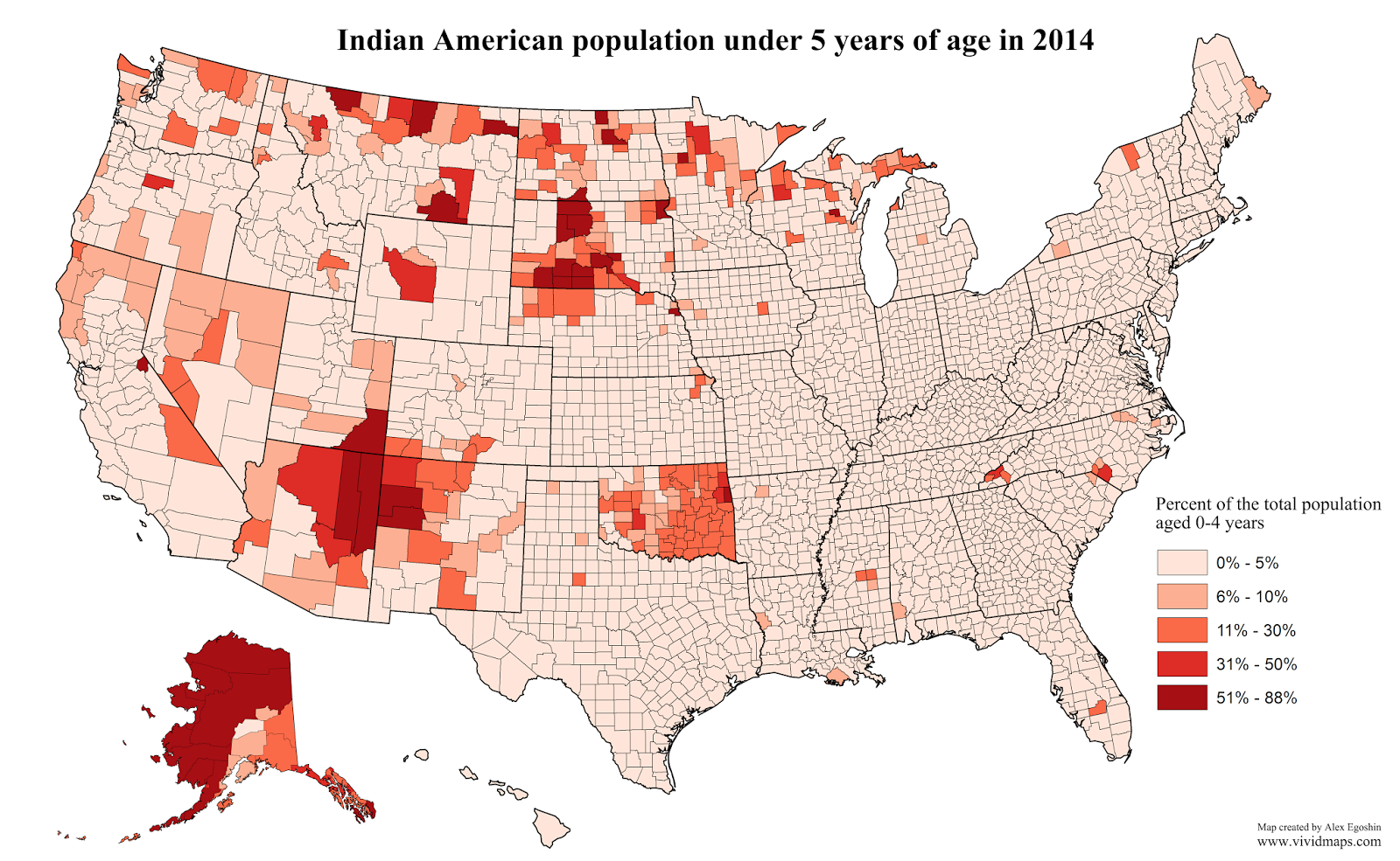Indian American population under 5 years of age in 2014
