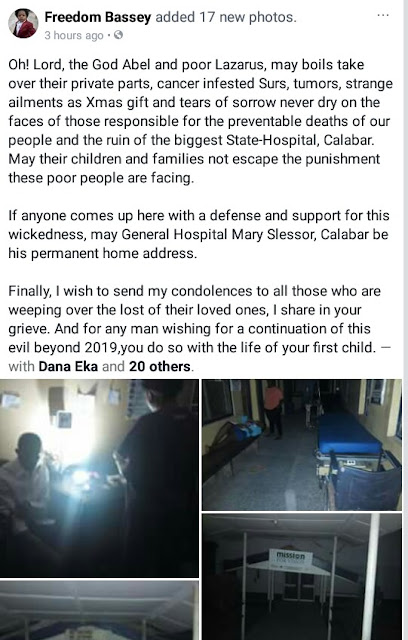 Man lays curses on those responsible for preventable deaths at General Hospital Calabar