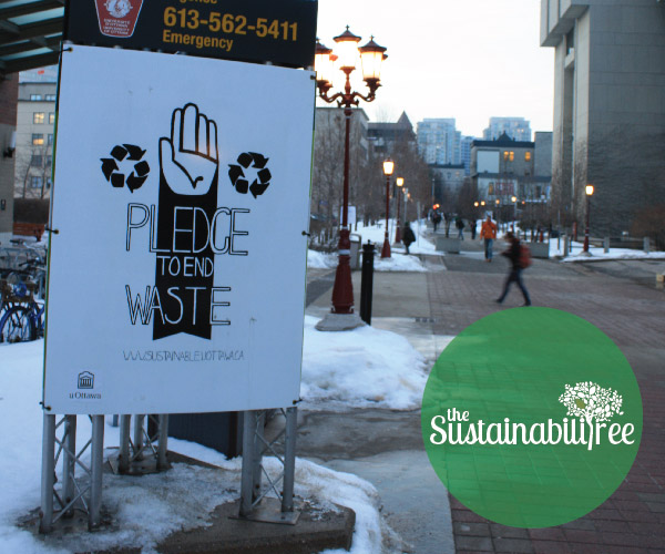 posters at the uOttawa campus prompting people to go waste free