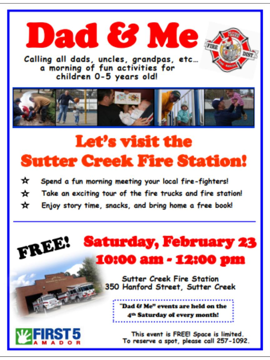 First 5 Amador: Dad & Me - Let's Visit the Suttter Creek Fire Station! Sat Feb 23