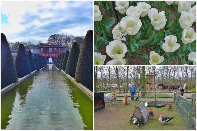 Fuente y pabellón Oranje Nassau – Flores - Zoo de animales domesticos en el parque floral Keukenhof