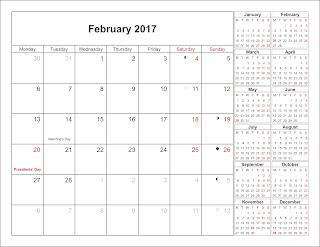 Free Printable Calendar, Printable Calendar 2017, February 2017 Calendar pdf.