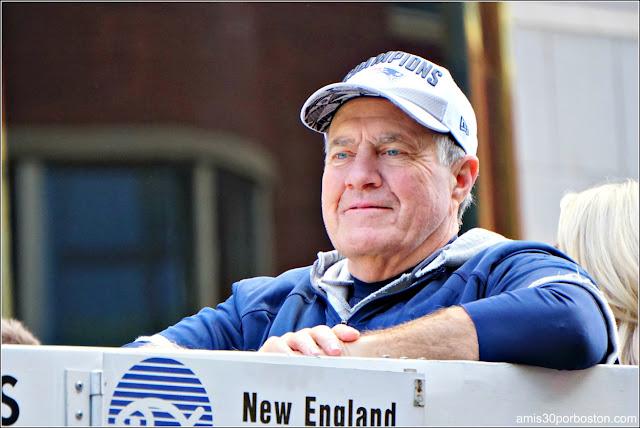 Bill Belichick en el Desfile de los Patriots por la Celebración de la Super Bowl LIII