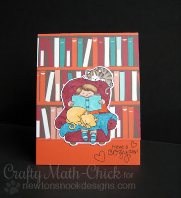 Kitties Cozying Up in the Library Card by Crafty Math Chick | A Cozy Day In stamp set by Newton's Nook Designs
