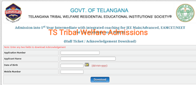 Ttwreis Inter Entrance test hall tickets for Inter with Integrated Coaching 2018-2019 TS Tribal Welfare Hall Tickets