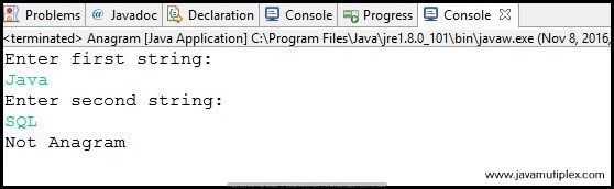 Output of Java program that checks whether two given strings are anagram or not - Case2