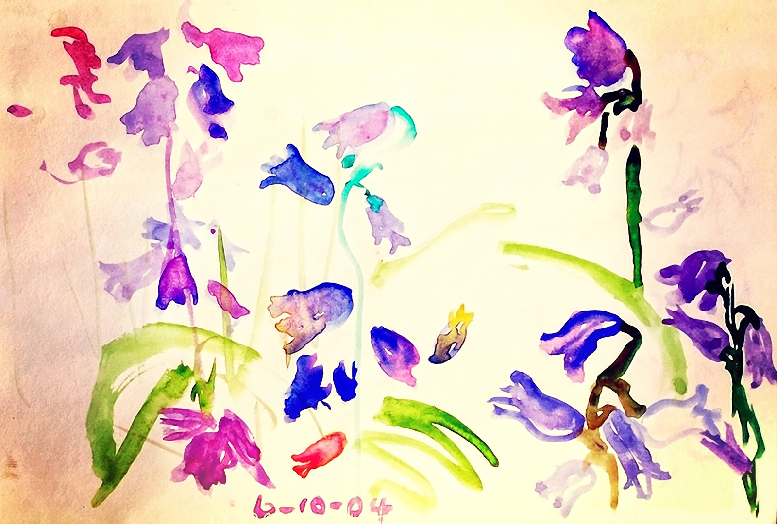 pink and purple flowers in the garden watercolour by suz