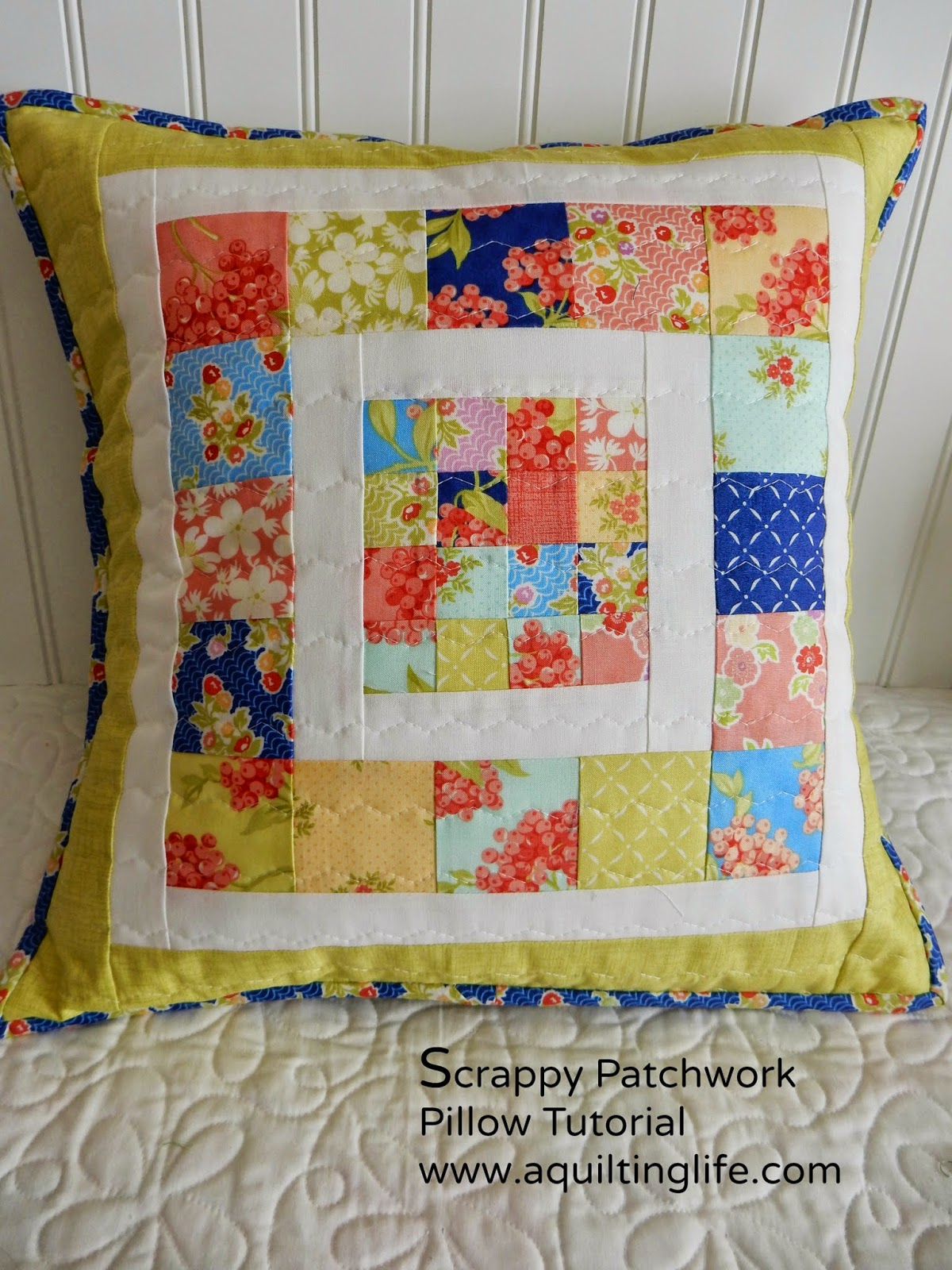 Quilting Ideas For Pillows : Scrappy Patchwork Pillow Tutorial A Quilting Life - a quilt blog