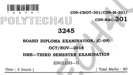 c-09 dme English -2 3rd semester oct/nov-2014