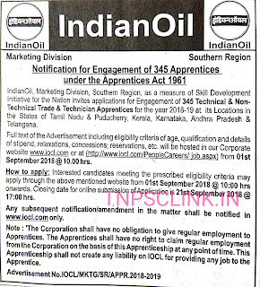 Indian Oil 345 Apprentices Recruitment Notification 2018 (The Hindu, 29.08.2018)