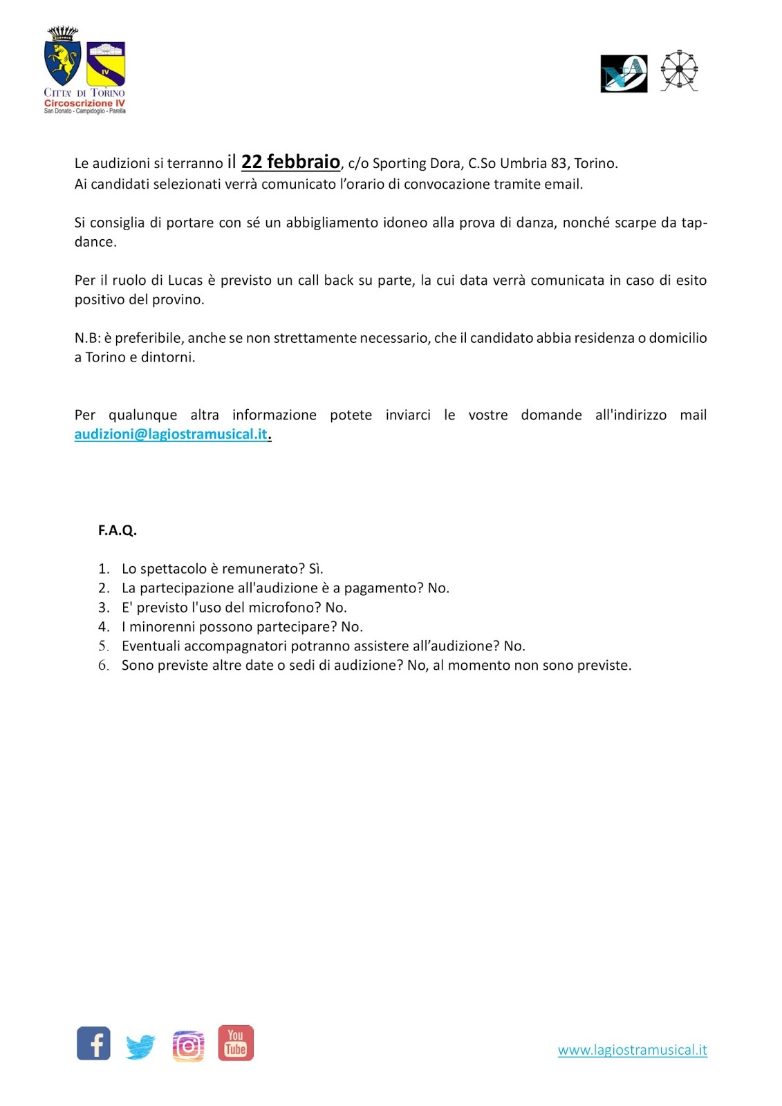 CASTING  Nuova Avanguardia A.P.S. cerca Attori-Cantanti uomini per ... 07f4ba7447f