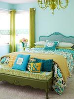 Habitación color verde y turquesa