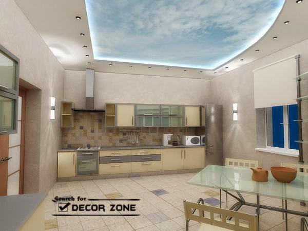 sky shaped false ceiling designs for large kitchens