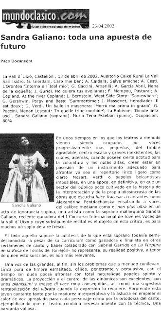 Mundo Clasico - Sandra Galiano: Toda una apuesta de futuro.