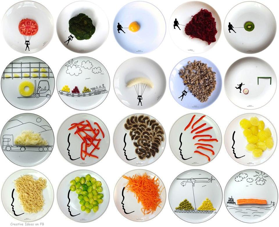 seni melukis dengan bahan makanan di atas piring