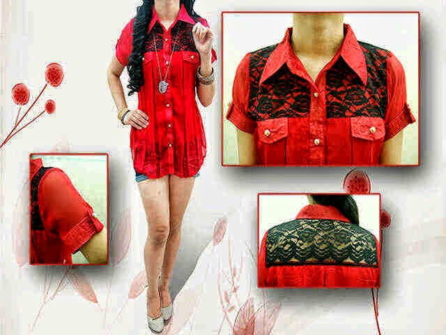 blouse sifon brokat