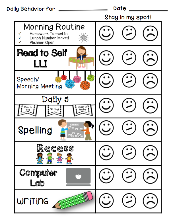 Individual student behavior management freebie for Behavior charts for preschoolers template