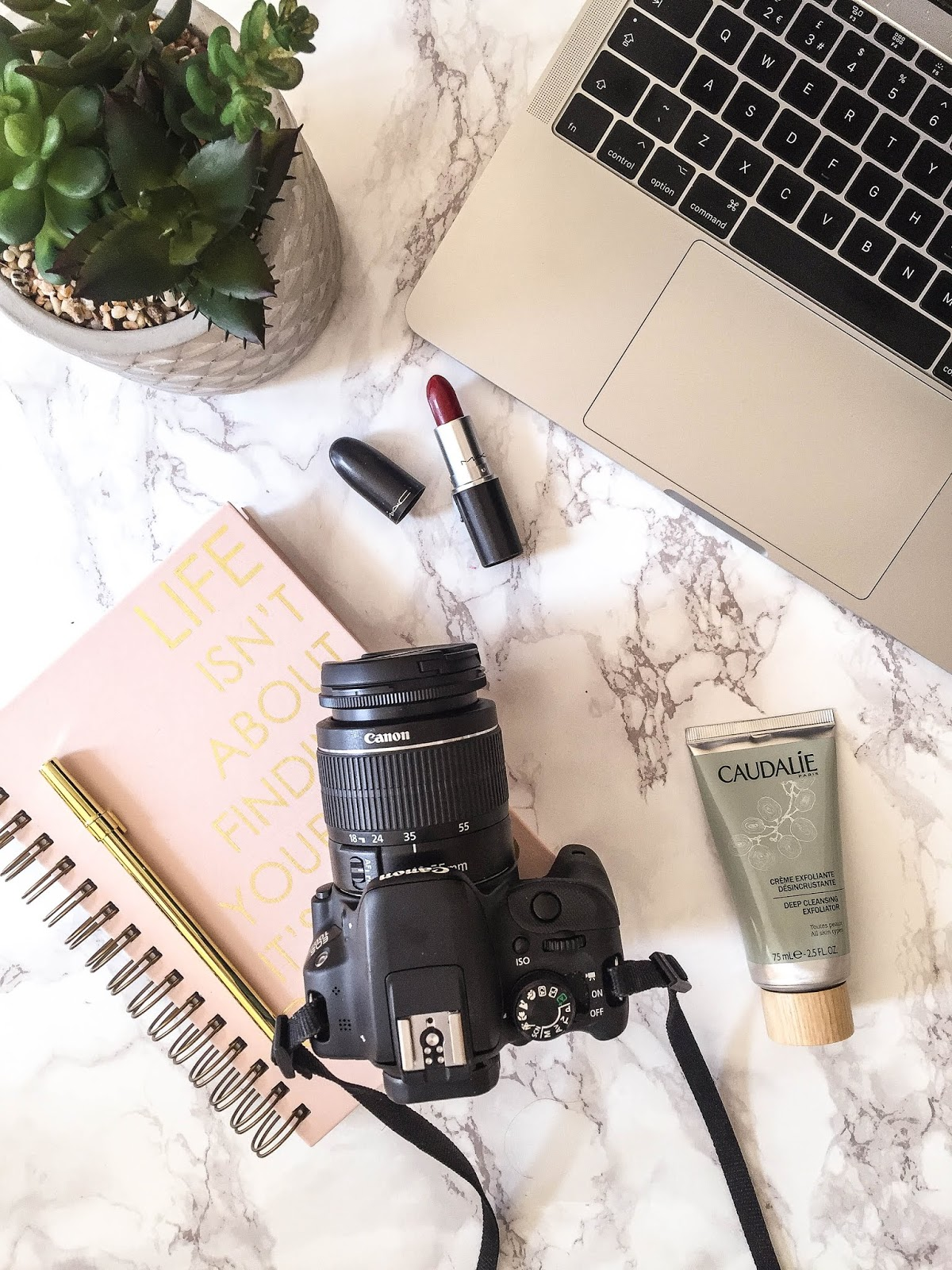 Lipstick and Camera Flatlay