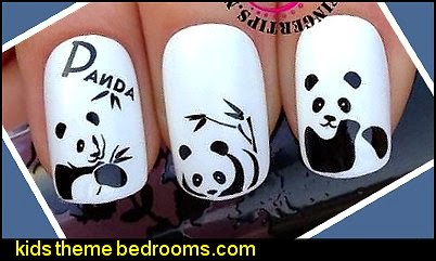 PANDA BEARS BAMBOO NAIL ART WRAPS WATER TRANSFERS STICKERS DECALS NAIL ART WRAPS WATER TRANSFERS STICKERS DECALS
