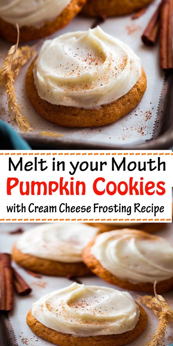 Melt In Your Mouth Pumpkin Cookies With Cream Cheese Frosting Recipe