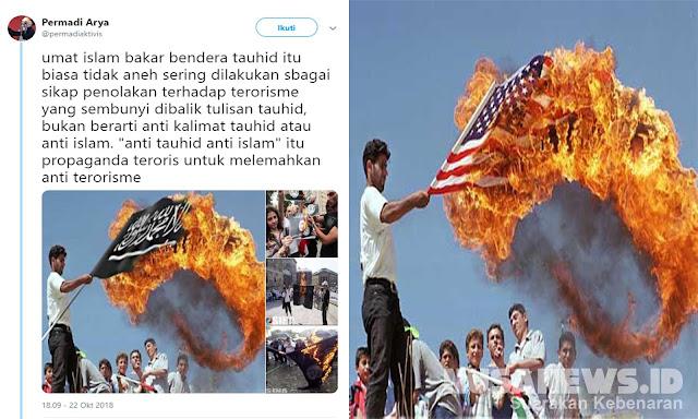 Posting Foto Hoax Pembakaran Bendera Tauhid Padahal Bendera Amerika, Abu Janda Disikat Warganet