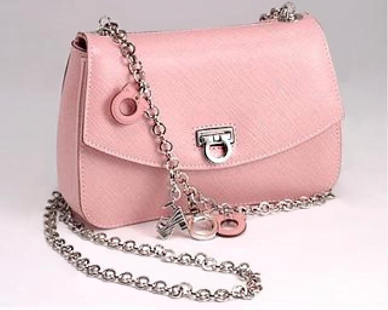 ferragamo pink gancini chain shoulder bag