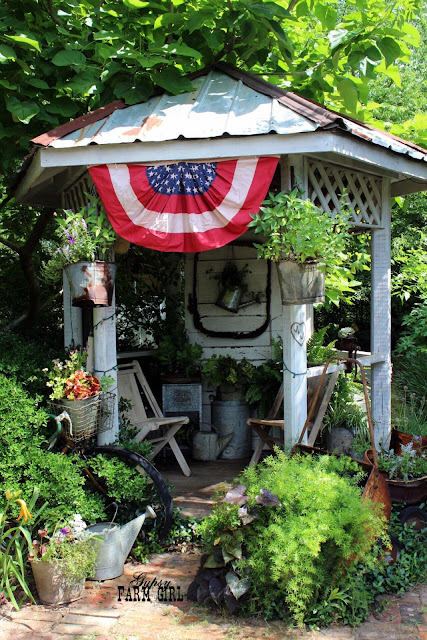 Rustic Summer patriotic yard gazebo
