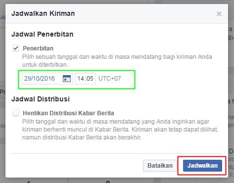 cara mengatur waktu posting di fanspage