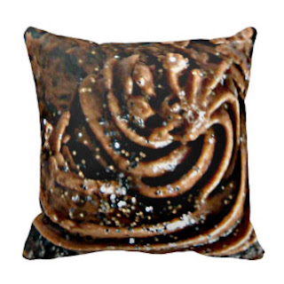 Brown cream icing throw pillow