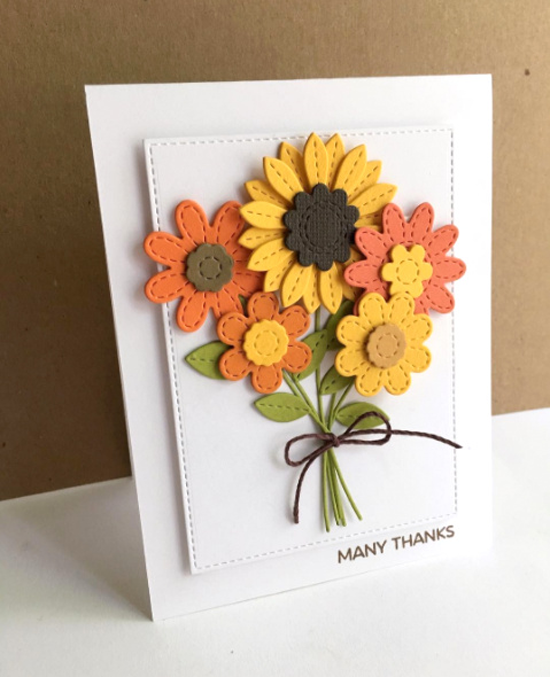 Lisa Johnson Designs Geometric Greenery stamp set and Stitched Flowers Die-namics - Lisa Addesa #mftstamps