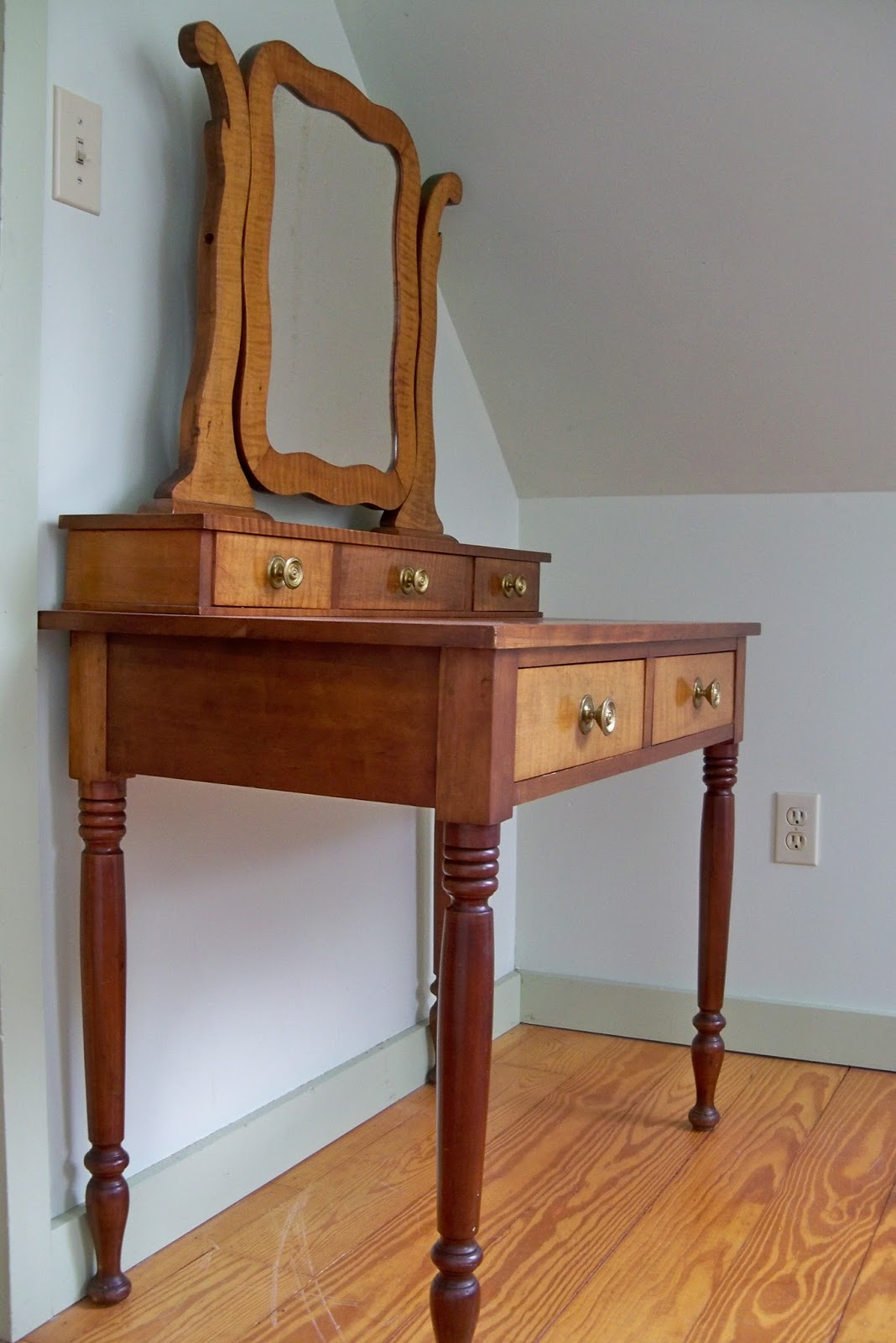 Goshen Antiques And Art 19th Century Antique Sheraton Two Part Cherry Vanity For Sale