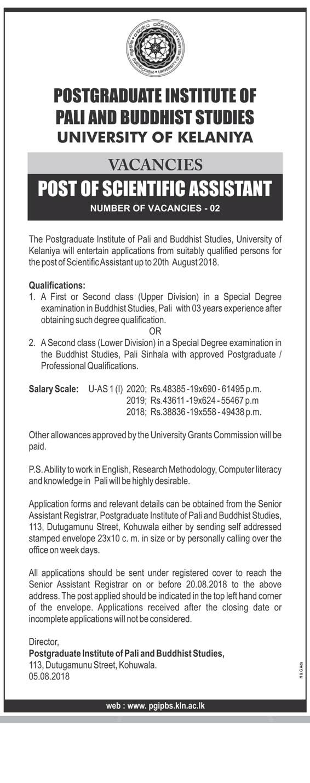 Scientific Assistant  - Postgraduate Institute of Pali & Buddhist Studies