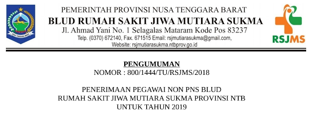 Penerimaan Pegawai Non PNS BLUD RSJ Mutiara Sukma Provinsi NTB Tahun 2019