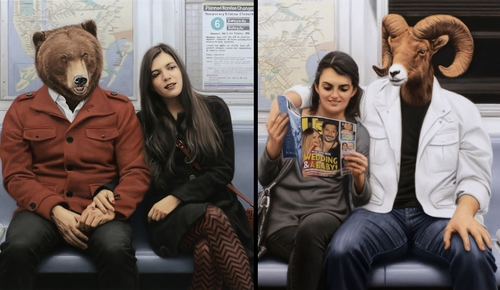 00-Matthew-Grabelsky-Paintings-of-Animal-Human-Hybrids-on-the-Subway-www-designstack-co