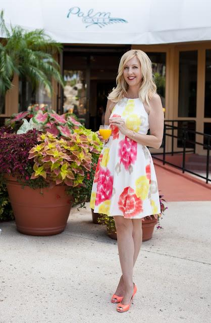 Citrus Tie Dye Scuba Halter Dress