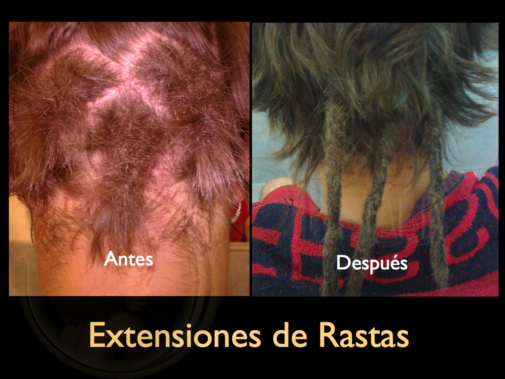 Extensiones de rastas en pelo corto