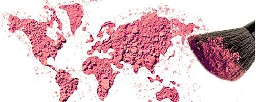 mapa del mundo hecho con maquillaje