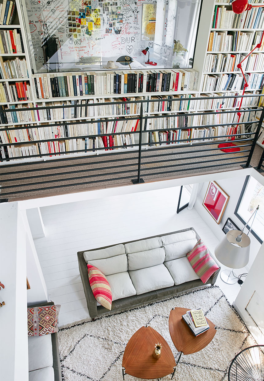 large bookcase inside of a large villa