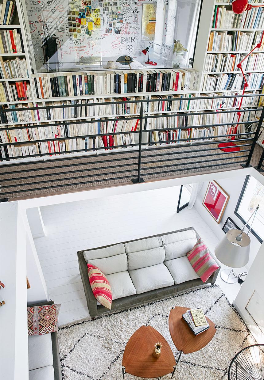 large bookcase inside of a large villa