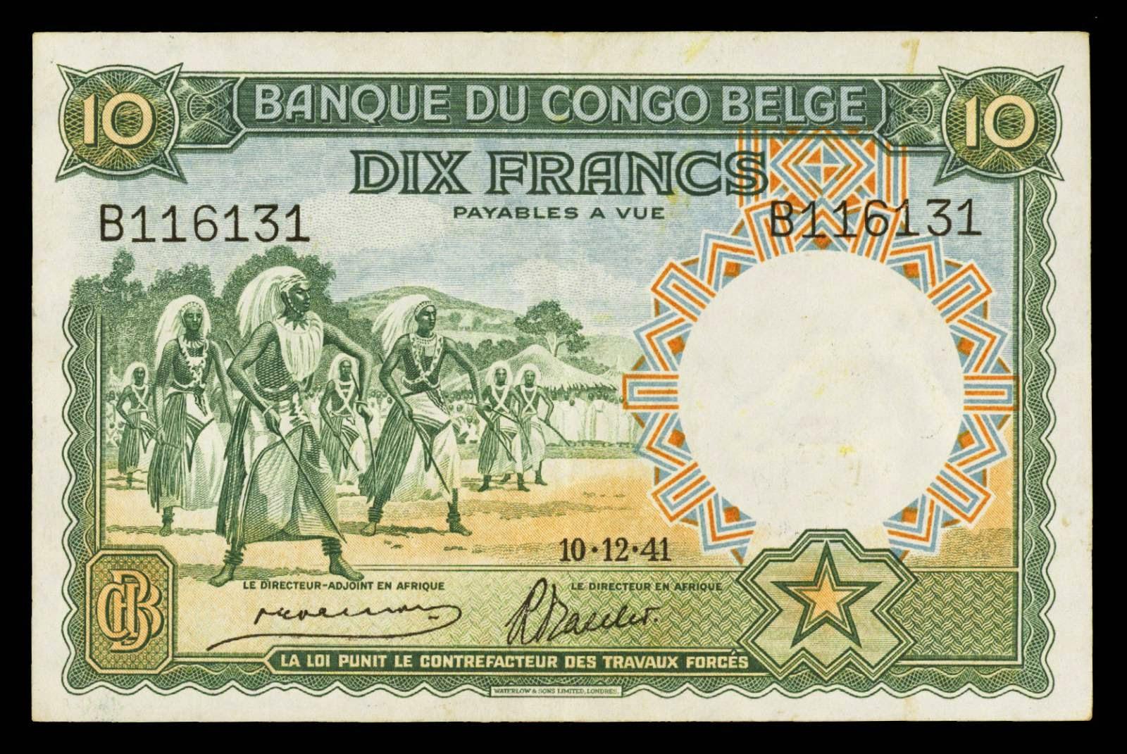 Belgian Congo banknotes 10 Francs Watussi Dancers