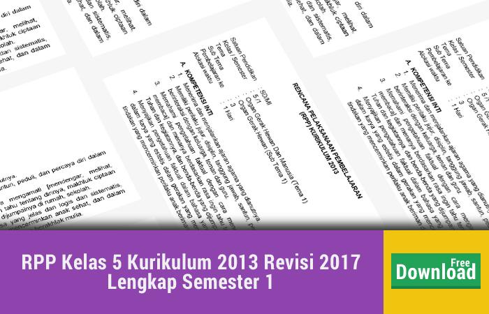 RPP Kelas 5 Kurikulum 2013 Revisi 2017 Lengkap Semester 1