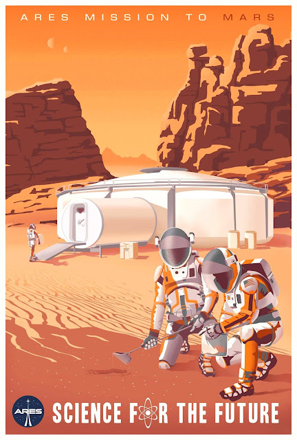 The Martian illustrated movie poster (base)