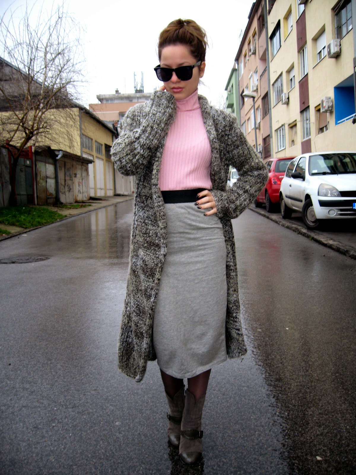 outfit, grey pencil skirt, pink turtleneck, grey boots, long cardigan, messy bun, black cat eye sunglasses