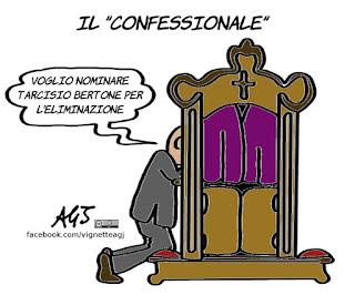 papa francesco, reality show, confessionale, bertone, satira , vignetta