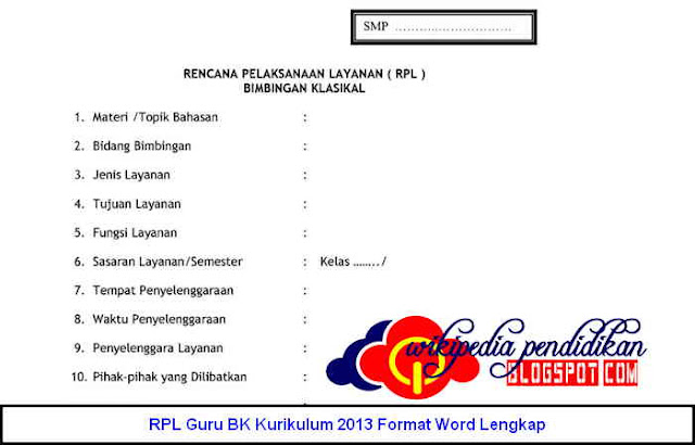 Download RPL Guru BK Kurikulum 2013 Format Word Lengkap